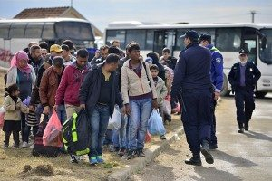 October 5, 2015; Opatovac in Croatia. Refugees entering refugee camp in Opatovac. They will be here only one day and the they will continue to Germany. October 5, 2015; Opatovac in Croatia.