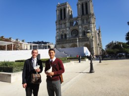 Continuing the Hall Family Trend - my companion Elder Hall's older brother and his father both served missions in Paris.  It was a family trend for them to bring their ''Bleu'' (the missionary they were training) to Notre Dame and take a photo of with them eating a greek sandwich.  I guess it was my turn.