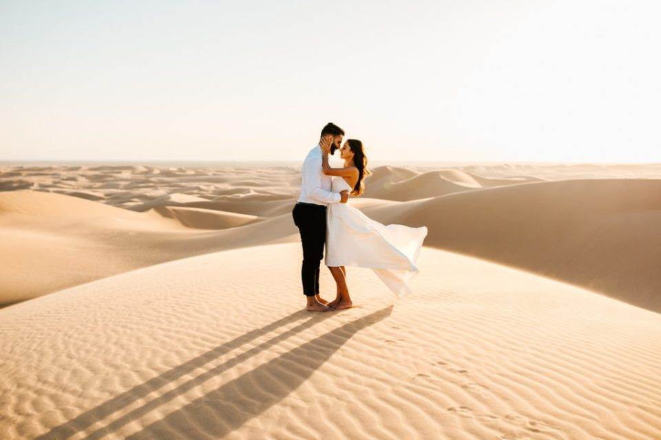 sunset sand dunes engagement session