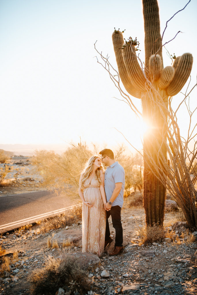 Arizona desert maternity couple