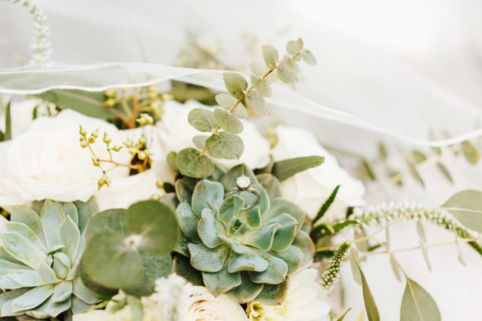 wedding ring in sage and cream florals