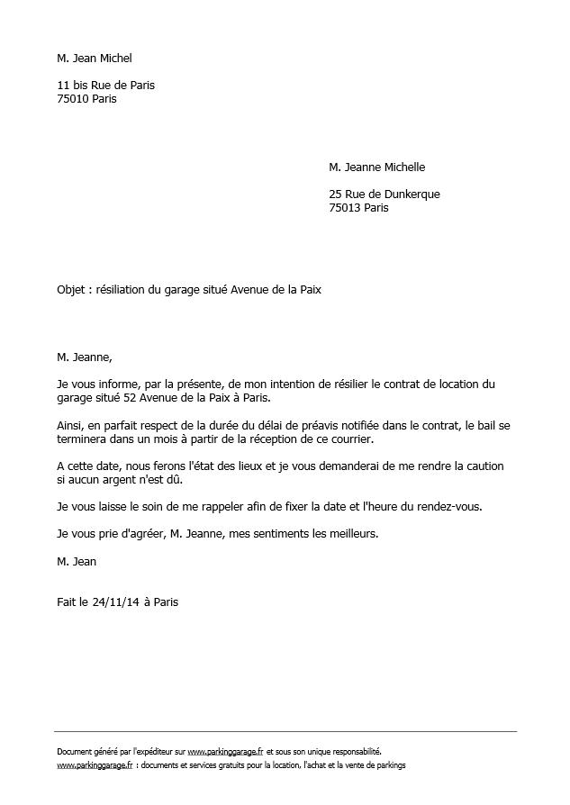 lettre de r u00e9siliation pour bail de garage