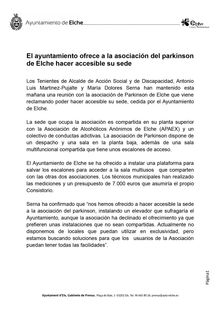 Nota de Prensa Ayunt. Elx a Asoc. Parkinson Elche