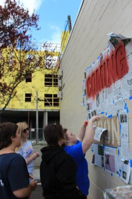 Today we gathered students to paint an advertisement on the wall ! Community Mural Coming Soon!