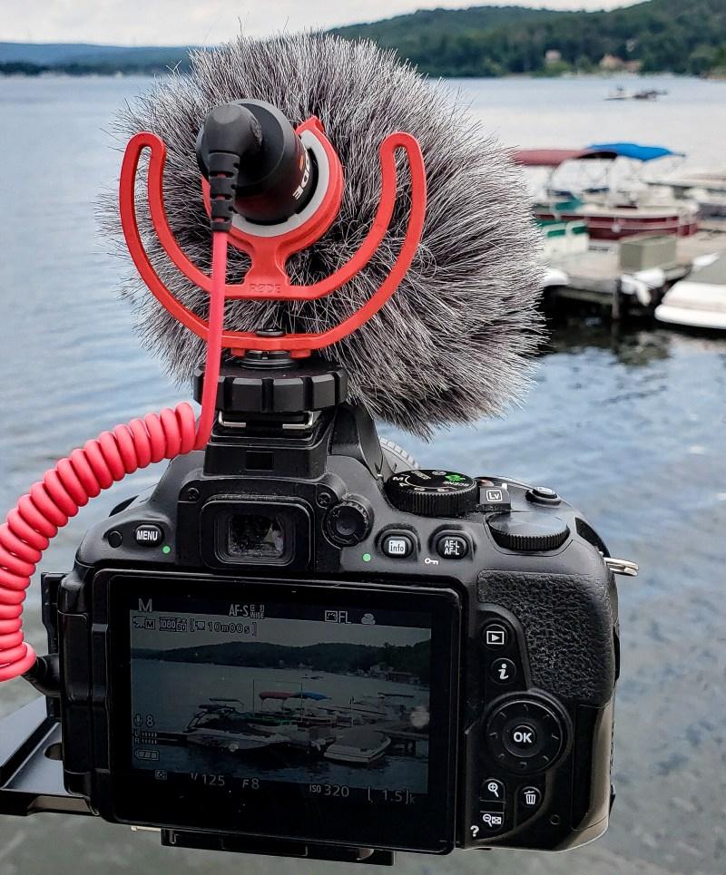 photo of nikon camera overlooking harvey's lake