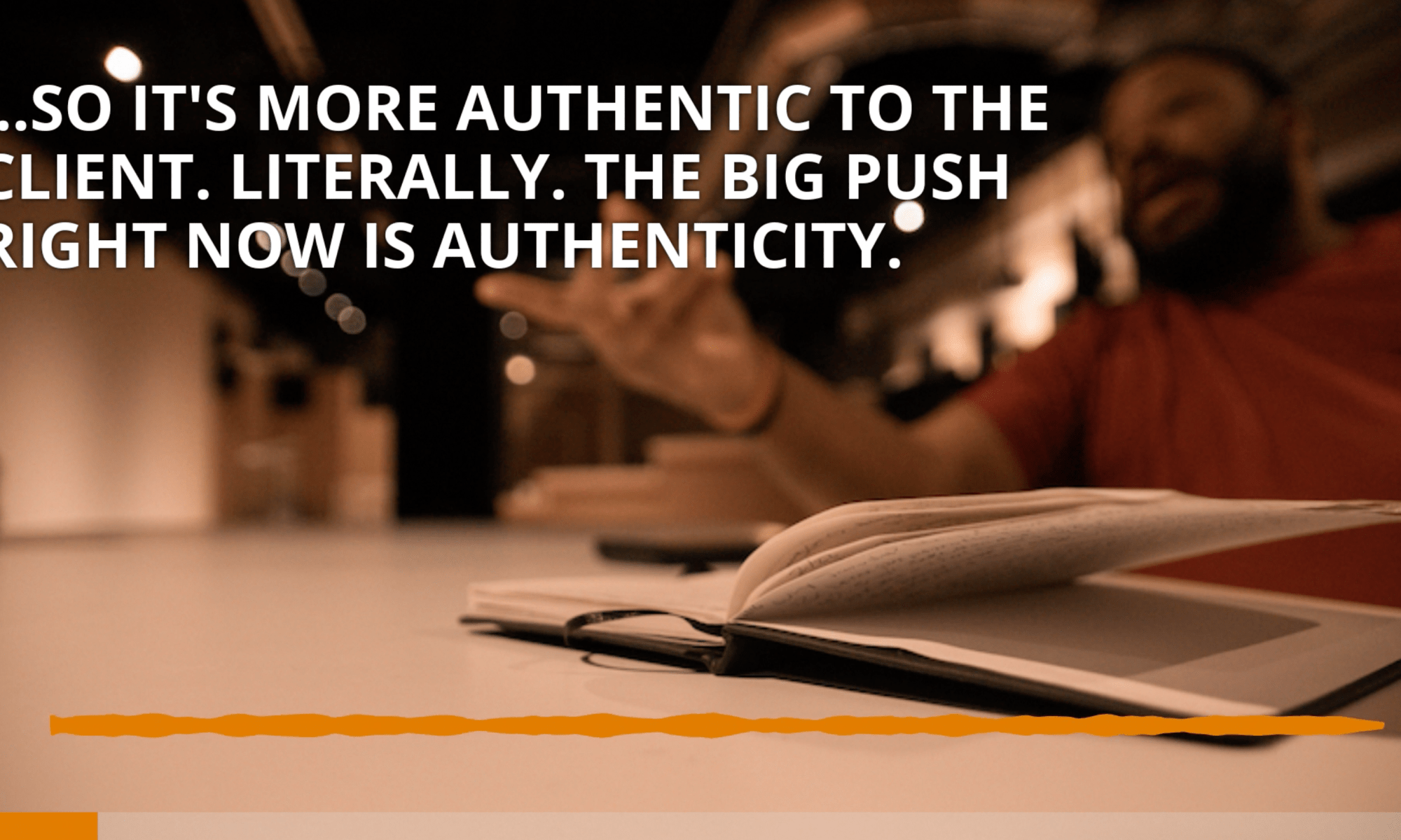 Screen shot from podcast with dan kimbrough discussing authenticity