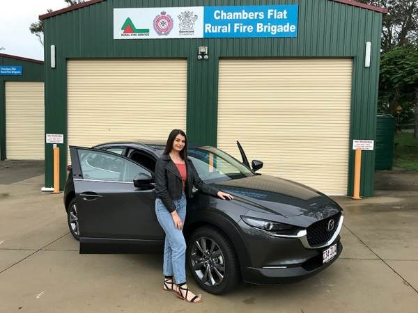 Karlee showing her style with the stylish Mazda CX-30