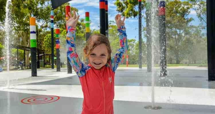 Shailer Park youngster Abigail Berry enjoys a splash at the Logan Gardens water play area, which will host the final Eats & Beats of the year on Friday, October 29.