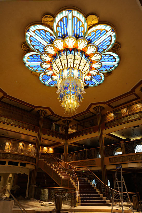 The Art Deco Chandelier in the Lobby of the Disney Dream