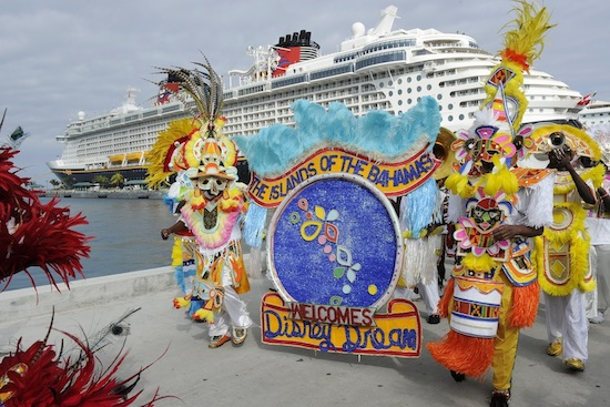 A Bahamian marching band greets the Disney Dream upon the ship's arrival in Nassau
