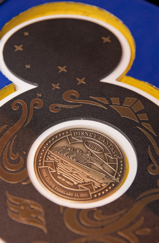 The coin placed under the keel of the Disney Fantasy for good fortune.