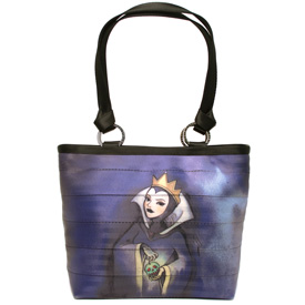 The Back of One of Four of the Totes in the Newest HARVEYS Good vs Evil Seatbeltbag Collection, Featuring the Evil Queen