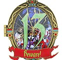 Closed Beware Pin from 13 Reflections of Evil Trading Event at Epcot
