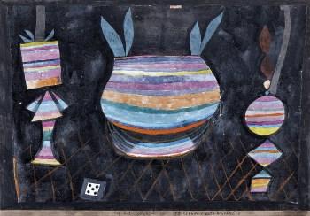 Bodegón con dado, 1923.Acuarela, lápiz de cera y tinta sobre papel adherido a cartulina. 27 x 38 cm.Museo Thyssen-Bornemisza, Madrid.