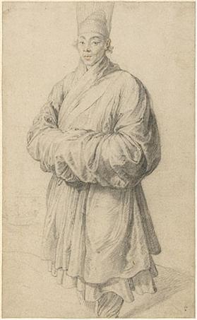 Pedro Pablo Rubens, Hombre con traje coreano, 1617. Carboncillo con toques de sanguina en el rostro, 38,4 x 23,5 cm. The J. Paul Getty Museum, Los Ángeles.