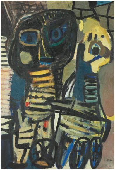 Karel Appel,  Vierge Noire, 1952.  Huile sur toile, 130 cm × 89cm. Risjkmuseum, Amsterdam.
