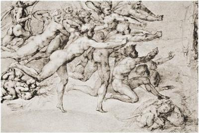 Michelangelo, Archers Shooting at the Hem, c. 1530. Red chalk, 21.9 x 32.3 cm. Royal Library, Windsor.