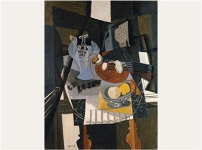 GEORGES BRAQUE Still Life with Fruit Dish, Bottle and Mandolin, 1930. Kunstsammlung Nordrhein-Westfalen, Düsseldorf.  © 2013 Artists Rights Society (ARS), New York / ADAGP, Paris. Courtesy of The Phillips Collection, Washington, D.C.