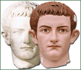 Sculpture de Calligula Original: 39-41av. notre ère, marbre, 31 cm, Carlsberg Glyptotek, Copenhagen.  Droite: Reconstruction (Photo courtesy Stiftung Archäologie, Munich).