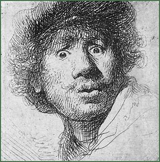 Rembrandt, Selbstporträt, um 1630. Radierung, 5 x 4,5 cm. Rijksmuseum, Amsterdam.