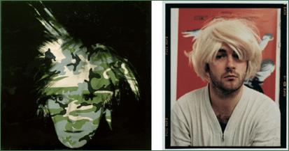 Links: Andy Warhol, Selbstporträt, 1986. Acryl und Siebdruck auf Leinwand. Rechts: Douglas Gordon, Selbstporträt als Kurt Cobain, als Andy Warhol, als Myra Hindley, als Marilyn Monroe, 1996. C-Print. Metropolitan Museum of Art, New York.