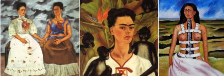 "Left to right: Frida Kahlo, The Two Fridas, 1939. Oil on canvas, 68 ¼"" x 68"". Museum of Modern Art, Mexico Self-portrait with Monkeys, 1943. Oil on canvas, 81.5 x 63 cm. Jacques and Natasha Gelman Collection, Mexico City Broken Column, 1944. 43 x 33 cm. Collection of Dolores Olmedo Mexico City, Mexico"