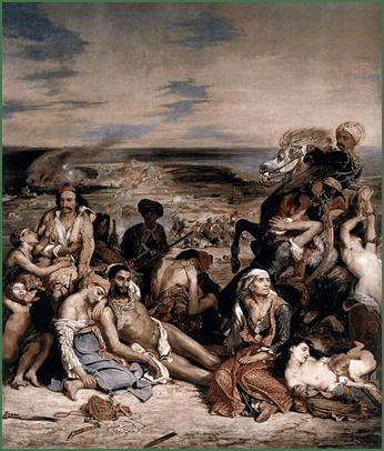 Das Massaker von Chios, 1824. Öl auf Leinwand, 419 cm × 354 cm. Louvre, Paris.