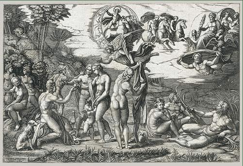 Marcantonio Raimondi, designed by Raphael, The Judgment of Paris, c. 1510-1520. Engraving, 29.2 x 43.6 cm. The Metropolitan Museum of Art, New York.