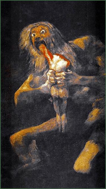 Francisco de Goya, Saturn frisst seine Kinder, 1820-1823. Öl auf Verputz, auf Leinwand übertragen, 146 x 83 cm. Museo Nacional del Prado, Madrid.
