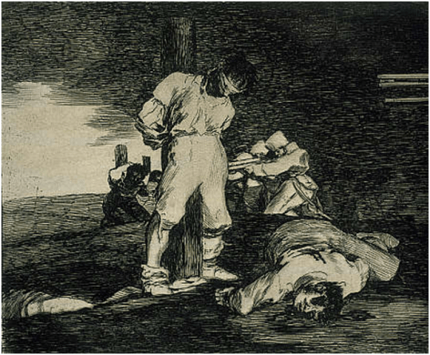 Y No Hai Remedio (And there is no help), c. 1810, Disasters of War, plate 15, etching, drypoint, burin and burnisher on paper, 14.5 x 16.5 cm. Scottish National Gallery, Edinburgh.  Image: http://www.nationalgalleries.org/