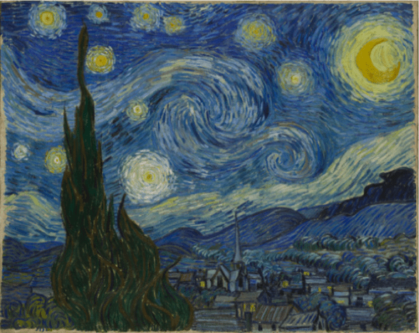 Vincent van Gogh, Starry Night, June 1889. Oil on canvas, 73.7 x 92.1 cm. The Museum of Modern Art, New York.