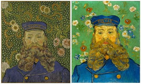Left: Portrait of Joseph Roulin, 1889. Oil on canvas, 64.4 x 55.2 cm. The Museum of Modern Art, New York. Right: The Postman Joseph Roulin, February–March 1889. Oil on canvas. Collection Kröller-Müller Museum, Otterlo.