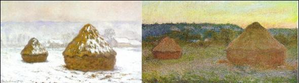 Derecha: C. Monet, Almiar de trigo, 1891.  Óleo sobre lienzo, 65,3 x 100,4. Art Institute of Chicago, Chicago. Izquierda: C. Monet, Almiar de grano, efecto de nieve, 1890-1891. Óleo sobre lienzo, 65 x 100 cm. Scottish National Gallery, Edimburgo.