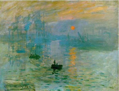 Monet, Impressione. Levar del sole, 1872. Olio su tela, 48 x 63. Musée Marmottan, Paris.