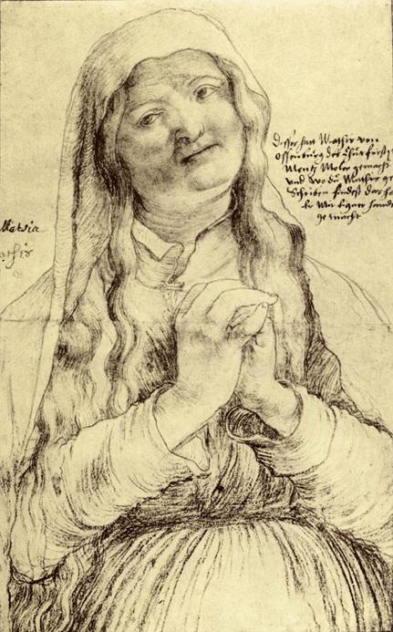 Matthias Grünewald, Anciana con las manos juntas, c. 1520