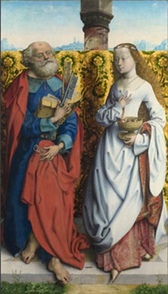 Maestro del Altar de San Bartolomé, San Pedro y santa Dorotea, c. 1505-1510.