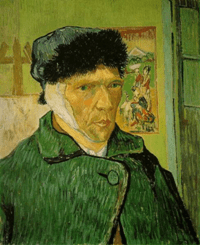 Vincent van Gogh, Autoritratto con l'orecchio bendato, 1889. Olio su tela, 60 x 49 cm. Courtauld Institute Galleries, Londra.