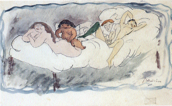 Jules Pascin Quatre Personnes sur un lit, 1907. Aquarelle sur papier, 12 x 21 cm. Collection particulière.