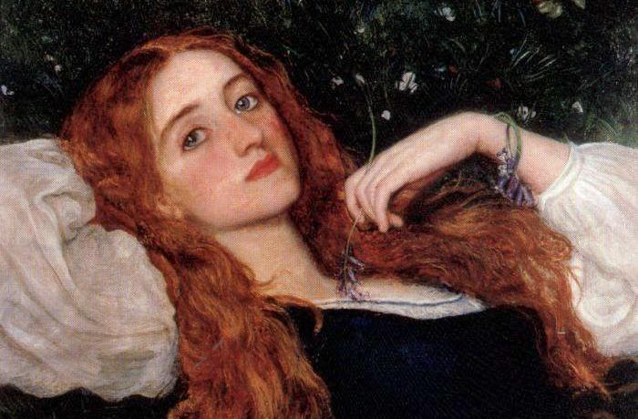 Arthur Hughes, Nell'Erba, 1864-1865.