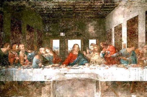 Leonardo da Vinci, The Last Supper, 1495-1498. Tempera on gesso, pitch and mastic, 460 x 880 cm. Convent of Santa Maria delle Grazie, Milan