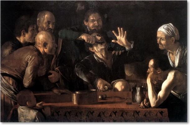 L'Estrattore di denti, 1608-1610. Olio su tela, 140 x 195 cm. Palazzo Pitti, Firenze.