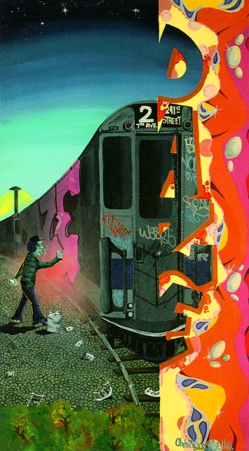 DAZE, Transition, 1982. Acrylique peint sur toile, 68,5 x 122 cm. American Graffiti Museum, New York.
