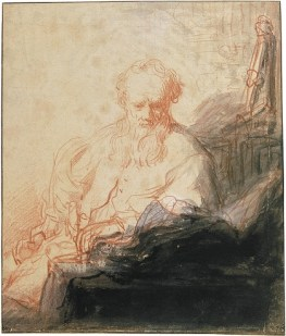 Rembrandt Harmensz van Rijn, Saint Paul Meditating, c. 1627-1629. Red chalk with white highlights and Indian ink wash, 23.7 x 20.1 cm. Musée du Louvre, Paris