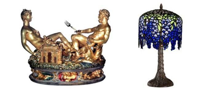 Benvenuto Cellini, La Salière de François Ier, 1540-1543. Ébène, or, partiellement émaillé, 26 x 33,5 cm. Kunsthistorisches Museum, Vienne.  Tiffany & Co., Lampe Wisteria, 1902. Bronze et verre. Collection privée.