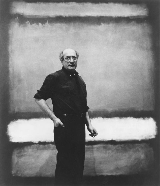 Mark Rothko with No. 7, 1960, photograph attributed to Regina Bogat, reproduced courtesy of The Estate of Mark Rothko.