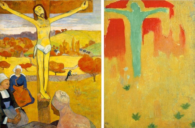 Paul Gauguin, Le Christ jaune, 1889. Huile sur toile, 92,1 x 73,3 cm. Albright-Knox Art Gallery, New York. Maurice Denis, Christ vert, 1890. Huile sur carton, 21 x 15 cm. Collection privée.