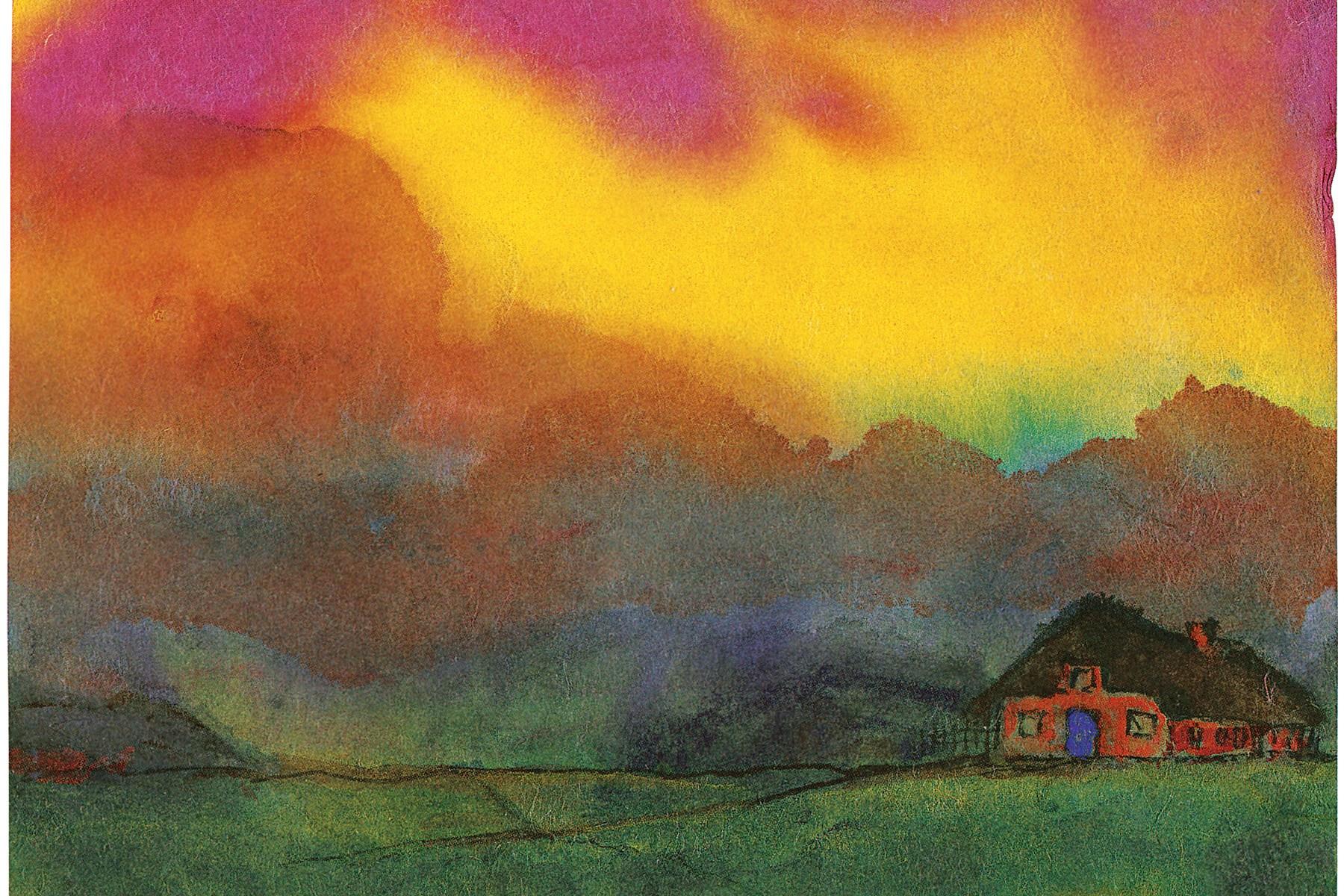 Friesenhäuser unter Abendwolken, 1938-1945. Aquarell, 17,4 x 22,6 cm. Nolde Stiftung Seebüll, Neukirchen.