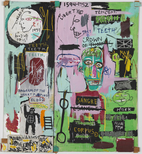 Acrylic and oil paintstick on canvas with wooden supports and five smaller canvases painted with ink marker. Two panels: 88 1/2 x 80 inches overall (224.8 x 203.2 cm). © The Estate of Jean-¬Michel Basquiat/ADAGP, Paris, ARS, New York 2013.