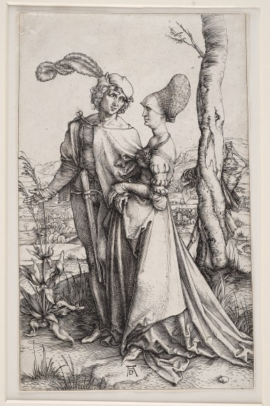 Albrecht Dürer, Das Liebespaar und der Tod (Der Spaziergang), um 1498. Kupferstich, 19,5 x 12,1 cm. Staatsgalerie Stuttgart, Stuttgart.