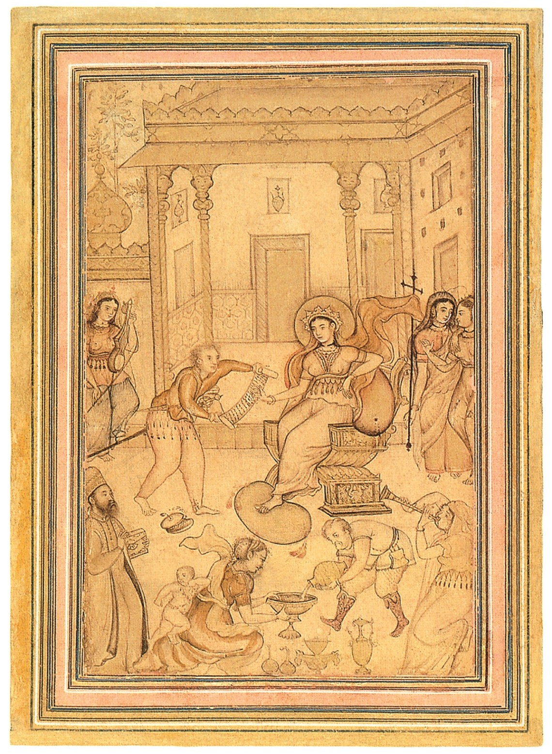 Anónimo, Escena de corte en Europa, 1600. Aguada y tinta, 33,5 x 20,8 cm. Virginia Museum of Fine Arts, Richmond, Virginia.
